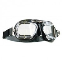 Halcyon Motorcycle Goggles Mk 10 Deluxe Curved Lens Black/Chrome