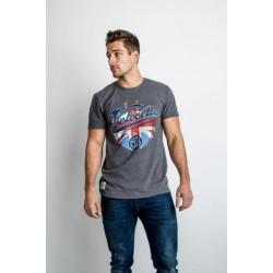 Red Torpedo Velocette Blighty T Shirt Grey Cotton