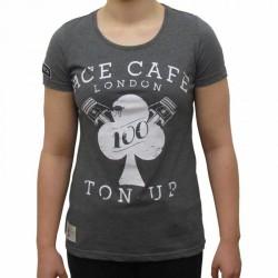 Red Torpedo Ladies Ace Cafe Ton Up Vest Graphite Cotton