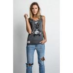 Red Torpedo Ladies Ace Cafe Rider Vest Graphite Cotton